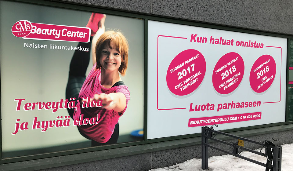 Ikkunateippaus CMS Beauty Center